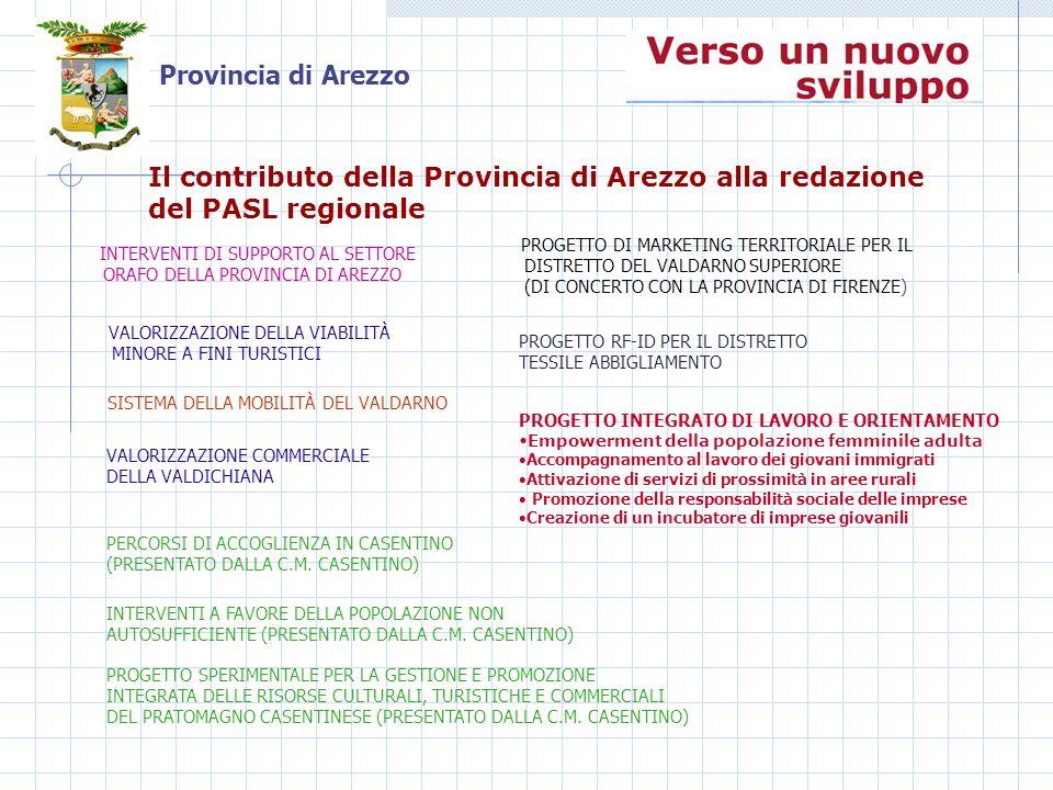 Provincia di Arezzo INTERVENTI DI SUPPORTO AL SETTORE ORAFO DELLA PROVINCIA DI AREZZO PROGETTO DI MARKETING TERRITORIALE PER IL DISTRETTO DEL VALDARNO SUPERIORE (DI CONCERTO CON LA PROVINCIA DI FIRENZE) VALORIZZAZIONE DELLA VIABILITÀ MINORE A FINI TURISTICI PROGETTO RF-ID PER IL DISTRETTO TESSILE ABBIGLIAMENTO PROGETTO SPERIMENTALE PER LA GESTIONE E PROMOZIONE INTEGRATA DELLE RISORSE CULTURALI, TURISTICHE E COMMERCIALI DEL PRATOMAGNO CASENTINESE (PRESENTATO DALLA C.M.