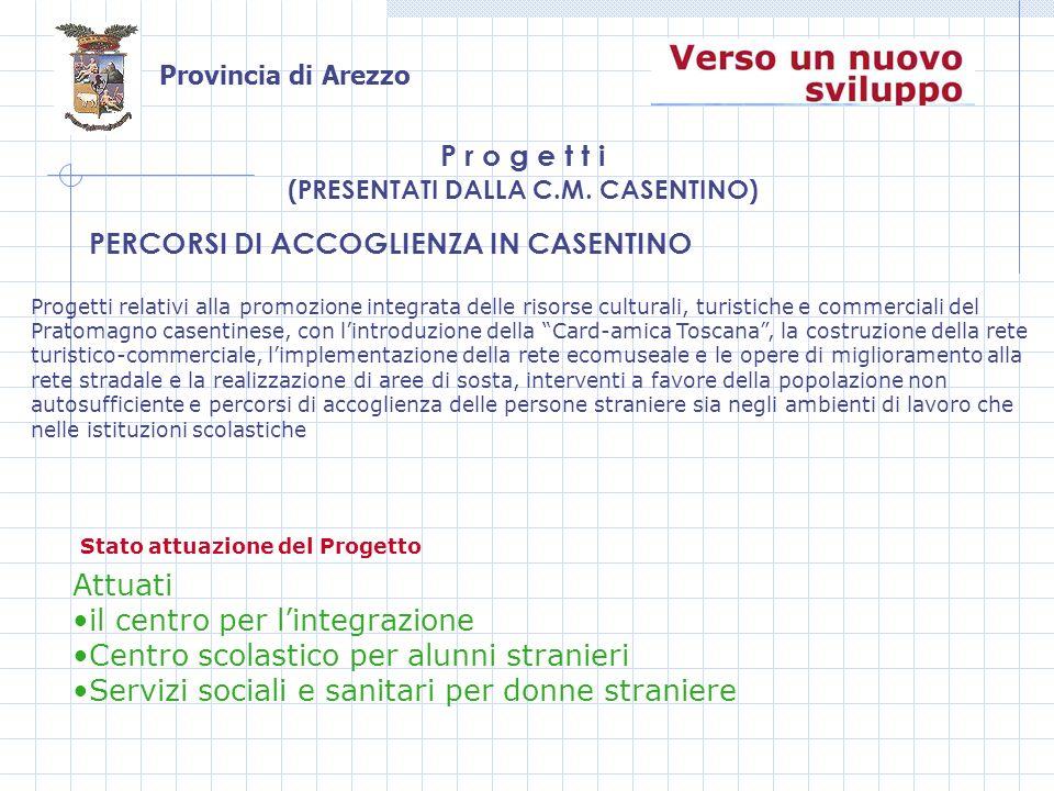 Provincia di Arezzo PERCORSI DI ACCOGLIENZA IN CASENTINO P r o g e t t i (PRESENTATI DALLA C.M.