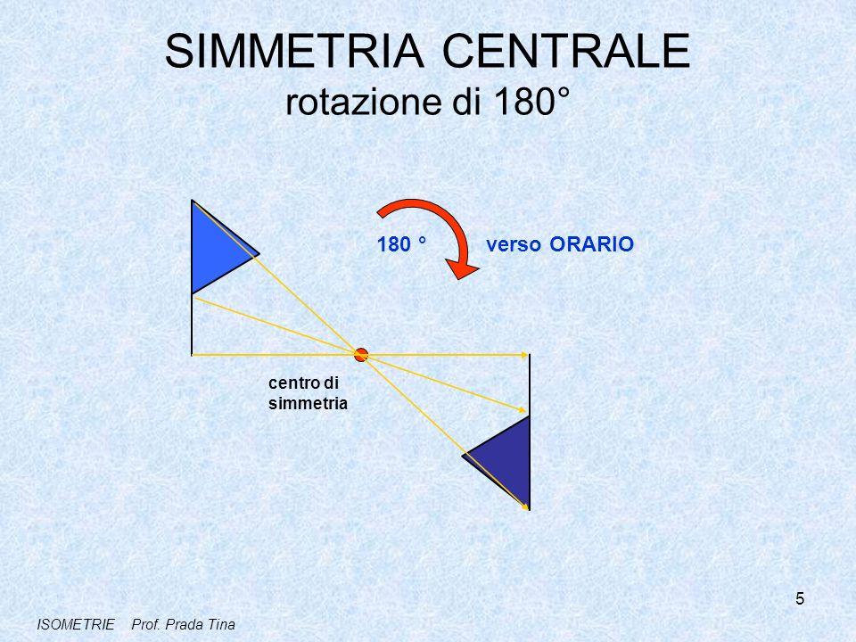 SIMMETRIA CENTRALE rotazione di 180° centro di simmetria 180 ° verso ORARIO 5 ISOMETRIE Prof. Prada Tina