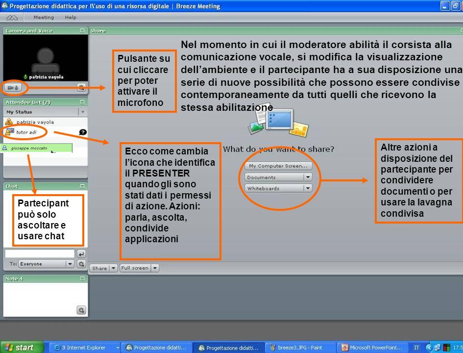 Nel momento in cui il moderatore abilità il corsista alla comunicazione vocale, si modifica la visualizzazione dellambiente e il partecipante ha a sua
