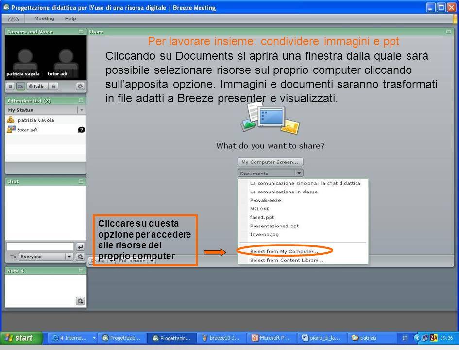 Cliccando su Documents si aprirà una finestra dalla quale sarà possibile selezionare risorse sul proprio computer cliccando sullapposita opzione. Imma
