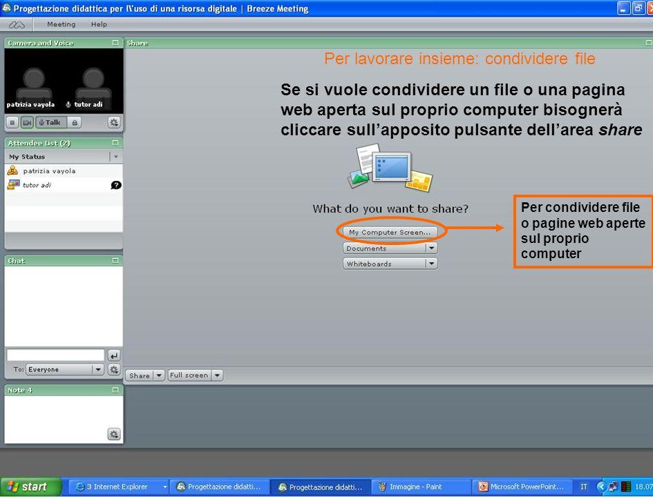 Se si vuole condividere un file o una pagina web aperta sul proprio computer bisognerà cliccare sullapposito pulsante dellarea share Per condividere file o pagine web aperte sul proprio computer Per lavorare insieme: condividere file