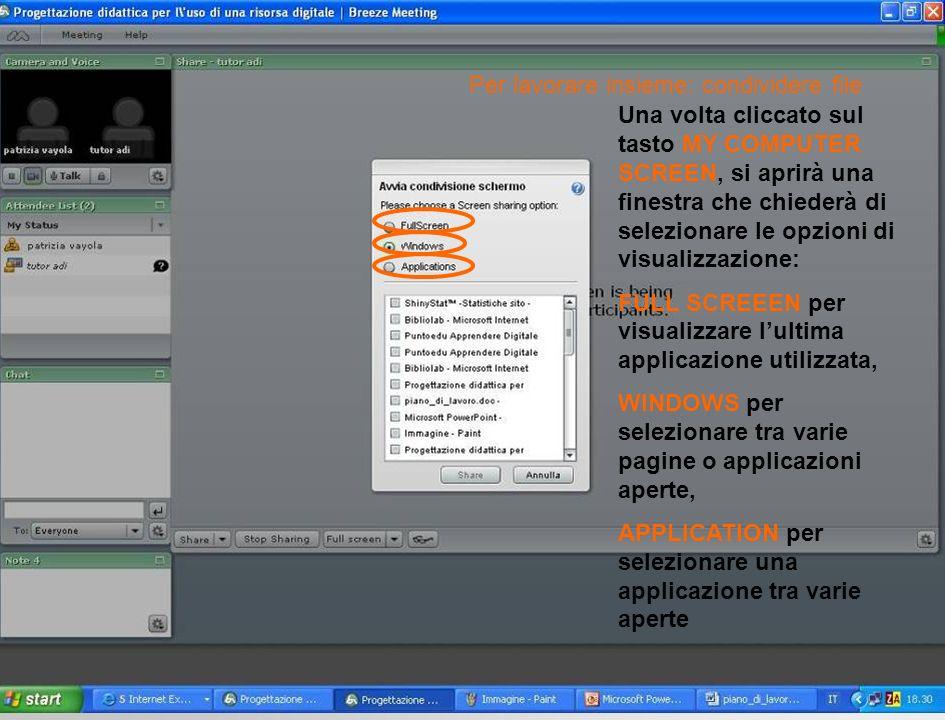 Una volta cliccato sul tasto MY COMPUTER SCREEN, si aprirà una finestra che chiederà di selezionare le opzioni di visualizzazione: FULL SCREEEN per visualizzare lultima applicazione utilizzata, WINDOWS per selezionare tra varie pagine o applicazioni aperte, APPLICATION per selezionare una applicazione tra varie aperte Per lavorare insieme: condividere file