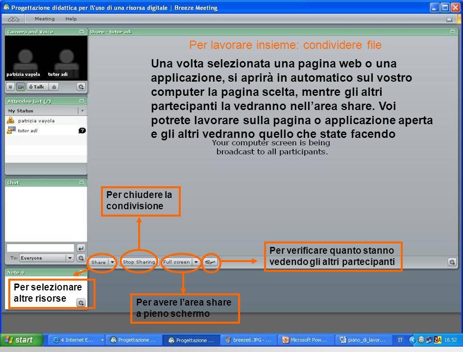 Una volta selezionata una pagina web o una applicazione, si aprirà in automatico sul vostro computer la pagina scelta, mentre gli altri partecipanti la vedranno nellarea share.