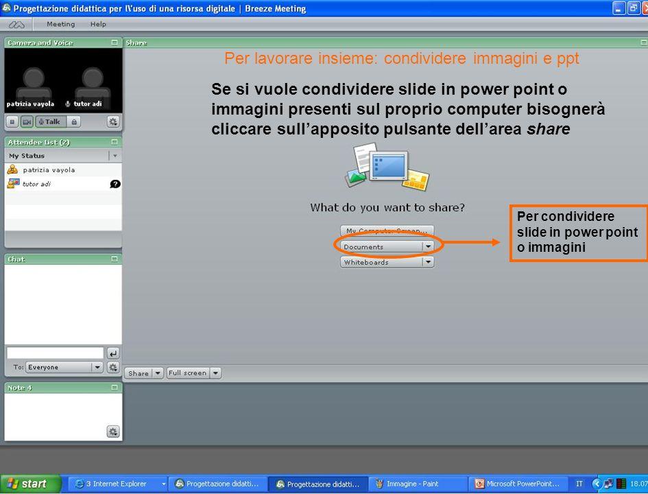 Se si vuole condividere slide in power point o immagini presenti sul proprio computer bisognerà cliccare sullapposito pulsante dellarea share Per condividere slide in power point o immagini Per lavorare insieme: condividere immagini e ppt