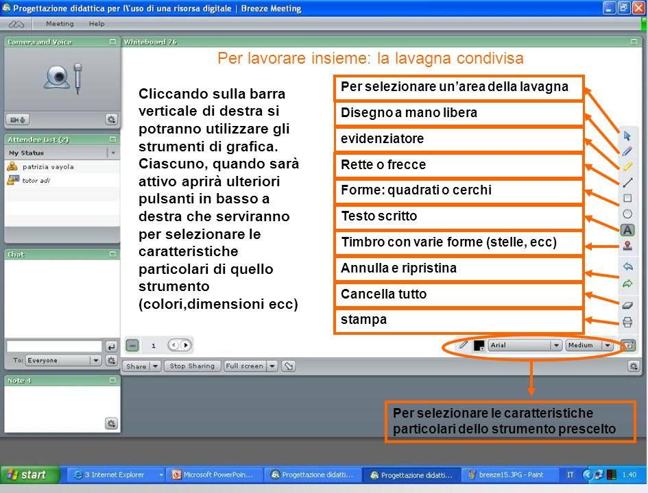 Cliccando sulla barra verticale di destra si potranno utilizzare gli strumenti di grafica.