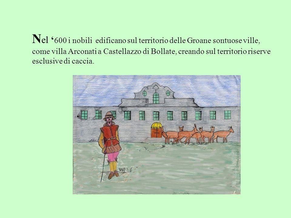 N el 600 i nobili edificano sul territorio delle Groane sontuose ville, come villa Arconati a Castellazzo di Bollate, creando sul territorio riserve e