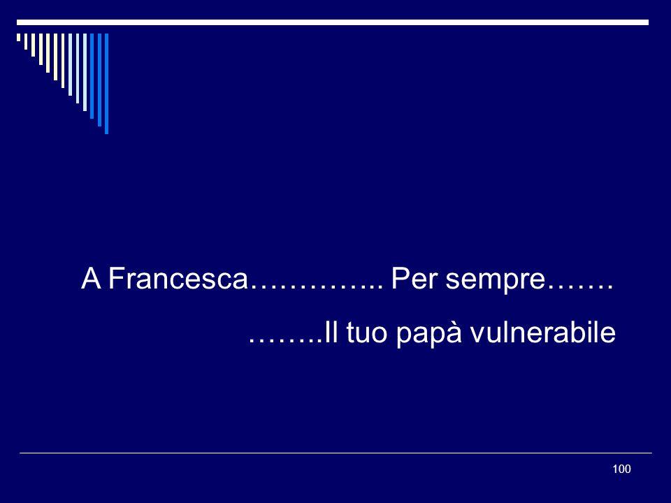 100 A Francesca………….. Per sempre……. ……..Il tuo papà vulnerabile