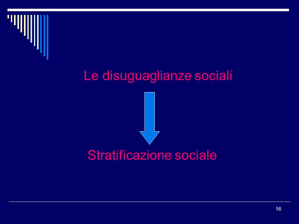 16 Le disuguaglianze sociali Stratificazione sociale