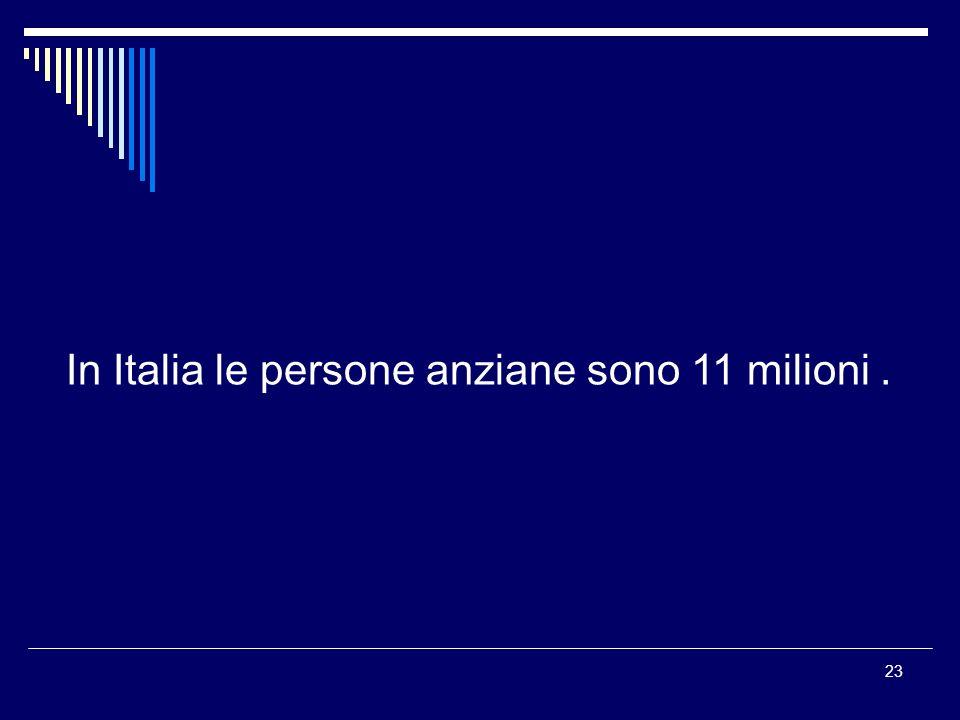 23 In Italia le persone anziane sono 11 milioni.