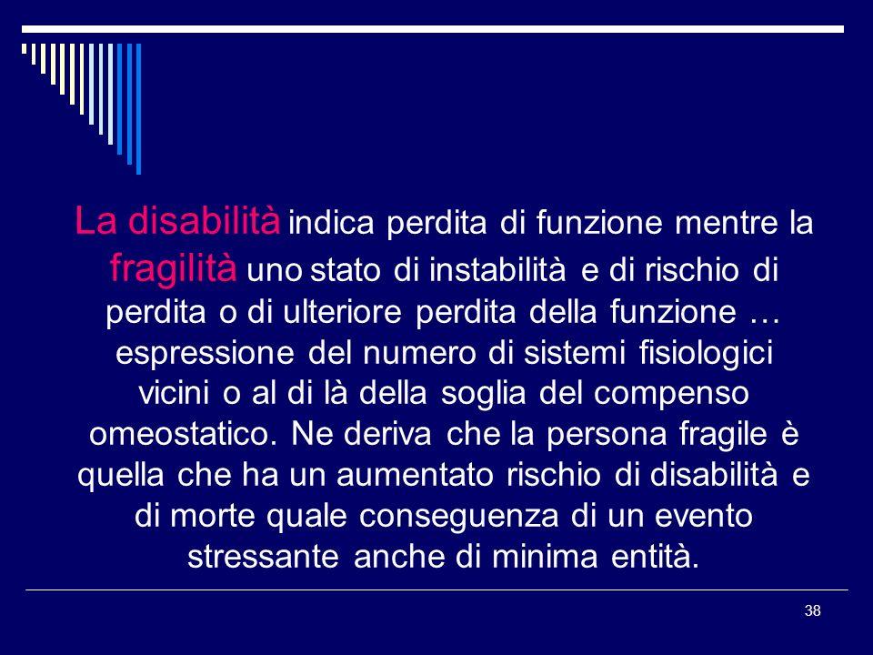 38 La disabilità indica perdita di funzione mentre la fragilità uno stato di instabilità e di rischio di perdita o di ulteriore perdita della funzione