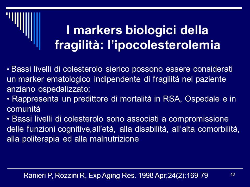 42 Bassi livelli di colesterolo sierico possono essere considerati un marker ematologico indipendente di fragilità nel paziente anziano ospedalizzato;