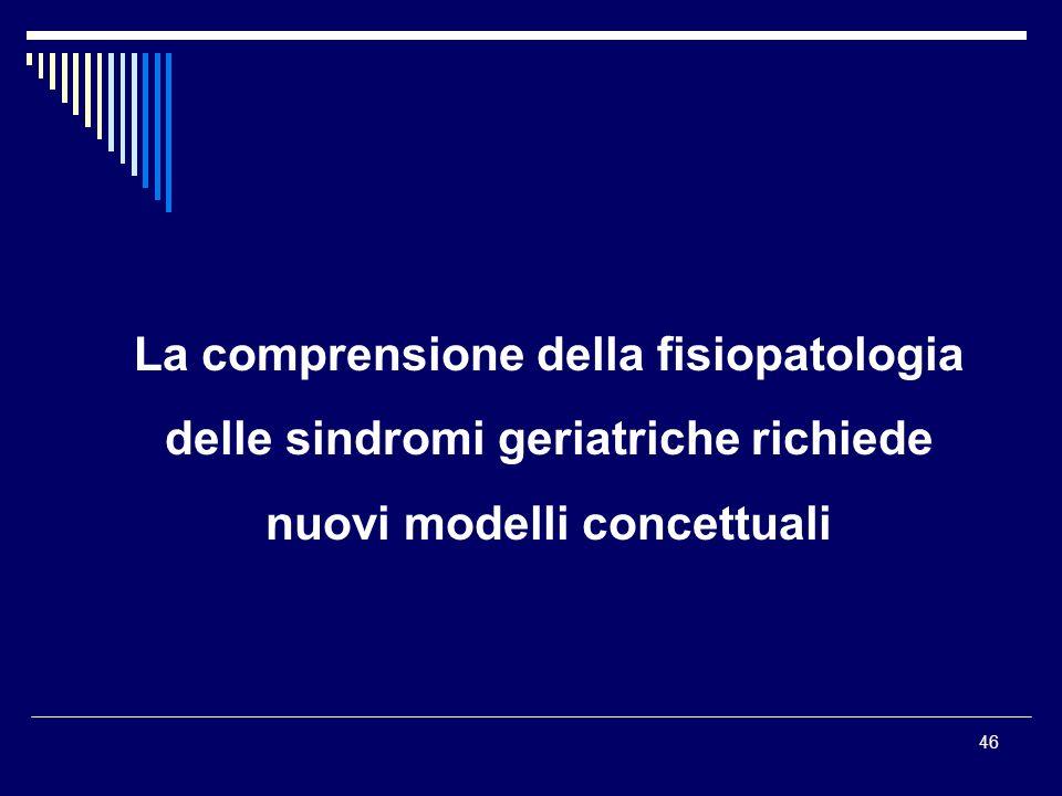 46 La comprensione della fisiopatologia delle sindromi geriatriche richiede nuovi modelli concettuali