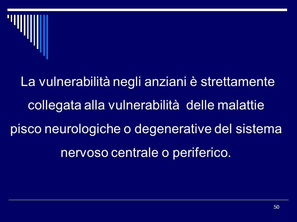 50 La vulnerabilità negli anziani è strettamente collegata alla vulnerabilità delle malattie pisco neurologiche o degenerative del sistema nervoso cen