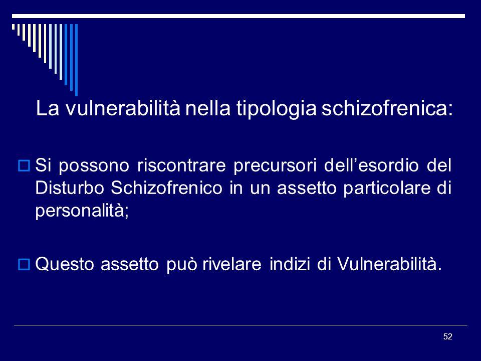 52 La vulnerabilità nella tipologia schizofrenica: Si possono riscontrare precursori dellesordio del Disturbo Schizofrenico in un assetto particolare