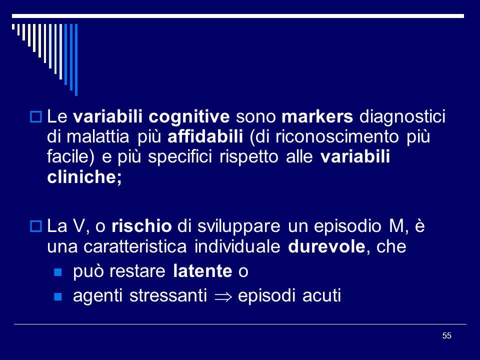 55 Le variabili cognitive sono markers diagnostici di malattia più affidabili (di riconoscimento più facile) e più specifici rispetto alle variabili c