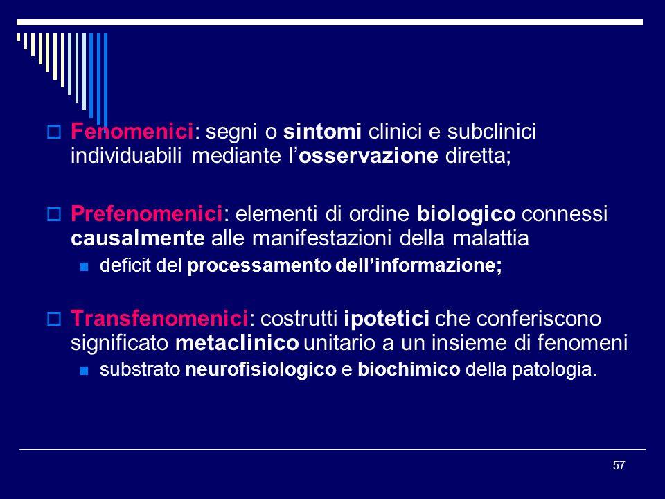 57 Fenomenici: segni o sintomi clinici e subclinici individuabili mediante losservazione diretta; Prefenomenici: elementi di ordine biologico connessi