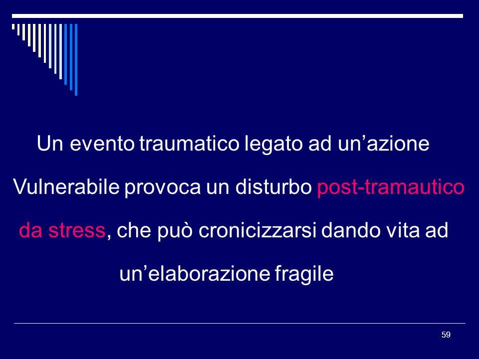 59 Un evento traumatico legato ad unazione Vulnerabile provoca un disturbo post-tramautico da stress, che può cronicizzarsi dando vita ad unelaborazio
