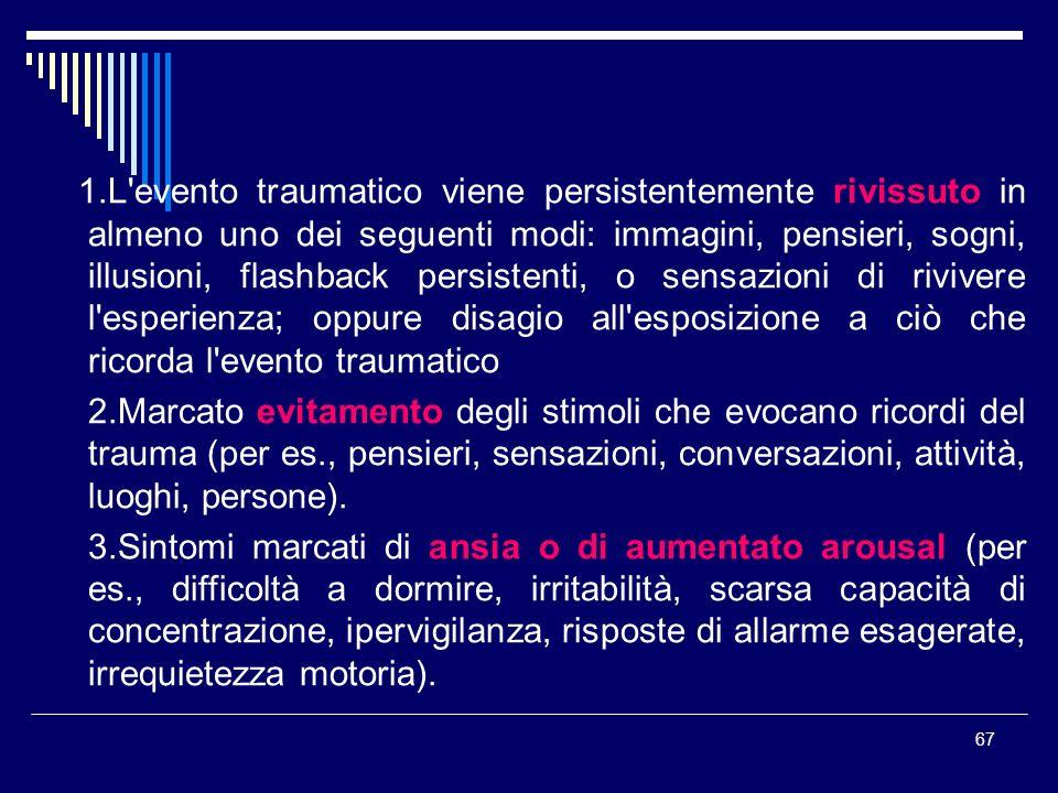 67 1.L'evento traumatico viene persistentemente rivissuto in almeno uno dei seguenti modi: immagini, pensieri, sogni, illusioni, flashback persistenti