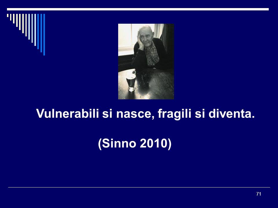 71 Vulnerabili si nasce, fragili si diventa. (Sinno 2010)