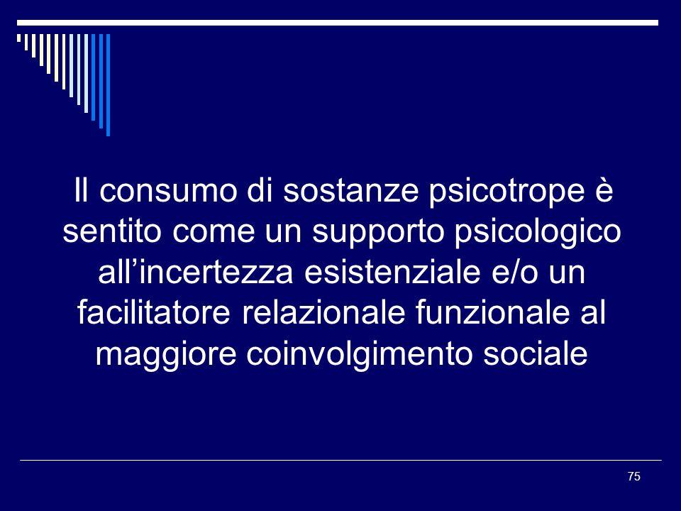 75 Il consumo di sostanze psicotrope è sentito come un supporto psicologico allincertezza esistenziale e/o un facilitatore relazionale funzionale al m