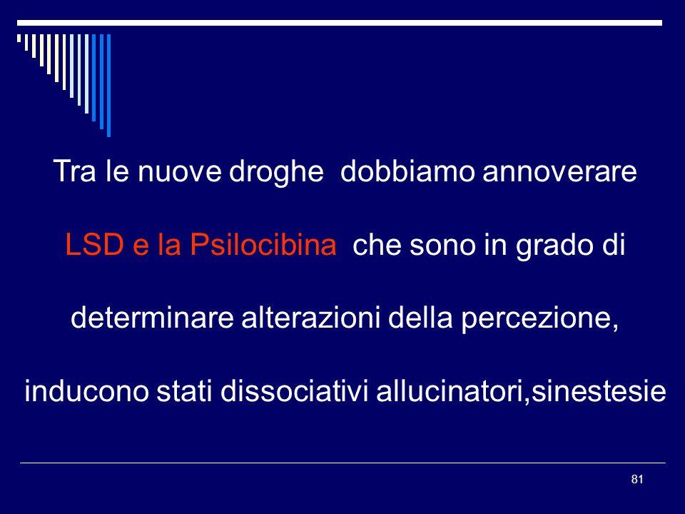 81 Tra le nuove droghe dobbiamo annoverare LSD e la Psilocibina che sono in grado di determinare alterazioni della percezione, inducono stati dissocia