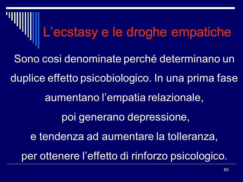 83 Lecstasy e le droghe empatiche Sono cosi denominate perché determinano un duplice effetto psicobiologico. In una prima fase aumentano lempatia rela