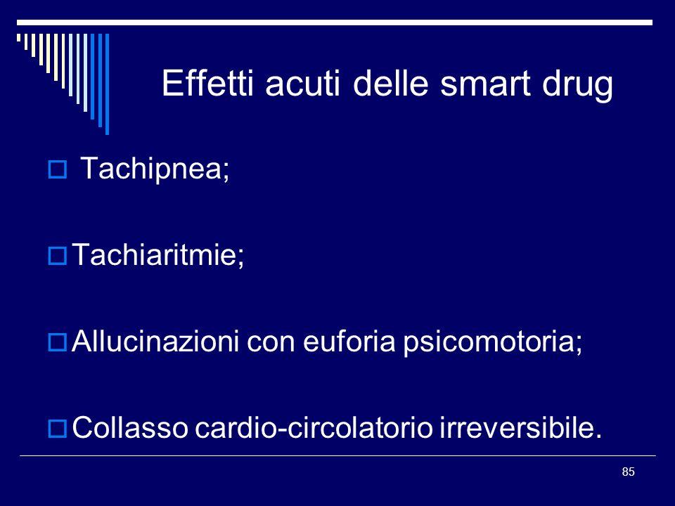 85 Effetti acuti delle smart drug Tachipnea; Tachiaritmie; Allucinazioni con euforia psicomotoria; Collasso cardio-circolatorio irreversibile.