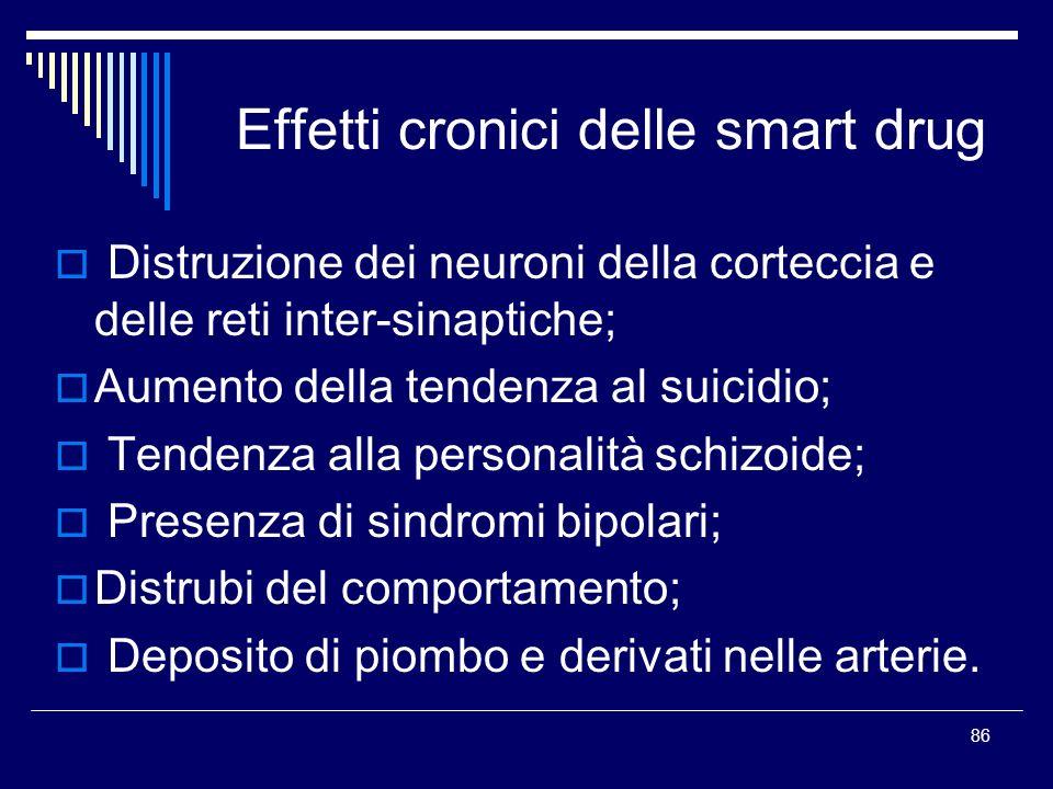 86 Effetti cronici delle smart drug Distruzione dei neuroni della corteccia e delle reti inter-sinaptiche; Aumento della tendenza al suicidio; Tendenz