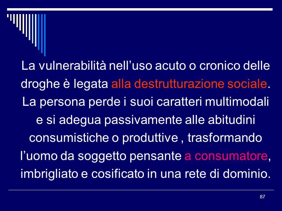 87 La vulnerabilità nelluso acuto o cronico delle droghe è legata alla destrutturazione sociale. La persona perde i suoi caratteri multimodali e si ad
