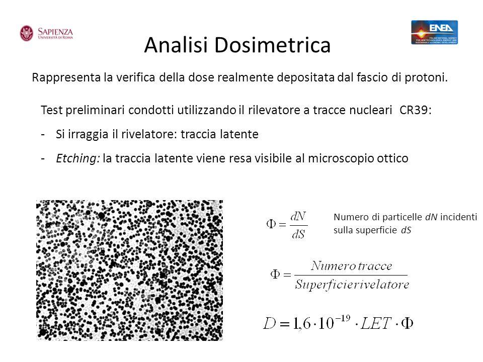 Analisi Dosimetrica Rappresenta la verifica della dose realmente depositata dal fascio di protoni. Test preliminari condotti utilizzando il rilevatore