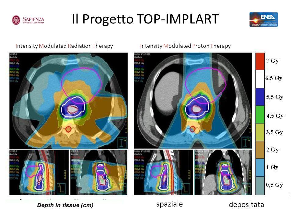 Il Progetto TOP-IMPLART 2 vantaggi rispetto alle tecniche tradizionali Picco di Bragg Selettività spaziale RBE Efficacia biologica massima nel picco d