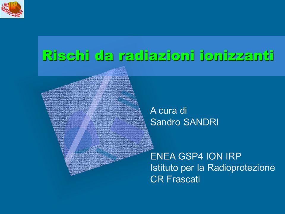 Rischi da radiazioni ionizzanti A cura di Sandro SANDRI ENEA GSP4 ION IRP Istituto per la Radioprotezione CR Frascati