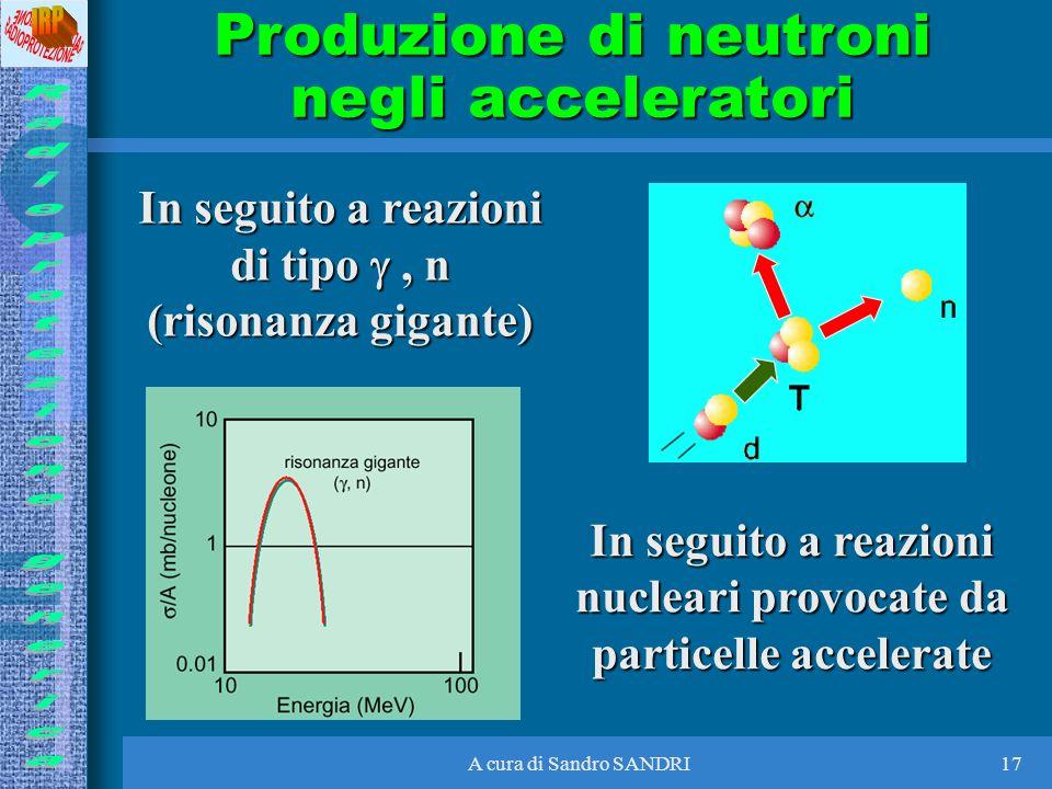 A cura di Sandro SANDRI17 Produzione di neutroni negli acceleratori In seguito a reazioni nucleari provocate da particelle accelerate In seguito a rea