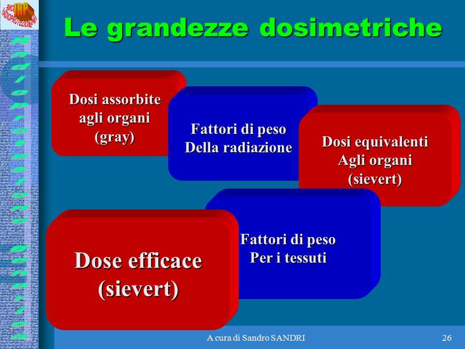 A cura di Sandro SANDRI26 Dosi assorbite agli organi (gray) Fattori di peso Della radiazione Dosi equivalenti Agli organi (sievert) Fattori di peso Pe