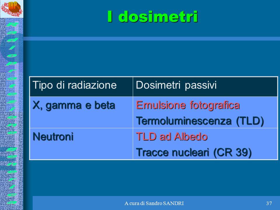 A cura di Sandro SANDRI37 I dosimetri Tipo di radiazioneDosimetri passivi X, gamma e beta Emulsione fotografica Termoluminescenza (TLD) Neutroni TLD a