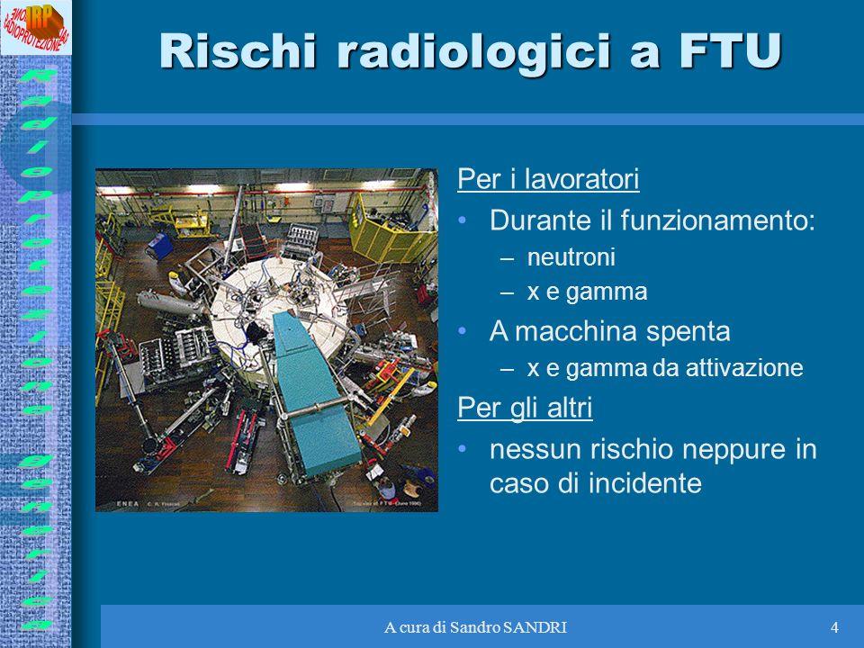 A cura di Sandro SANDRI4 Rischi radiologici a FTU Per i lavoratori Durante il funzionamento: –neutroni –x e gamma A macchina spenta –x e gamma da atti