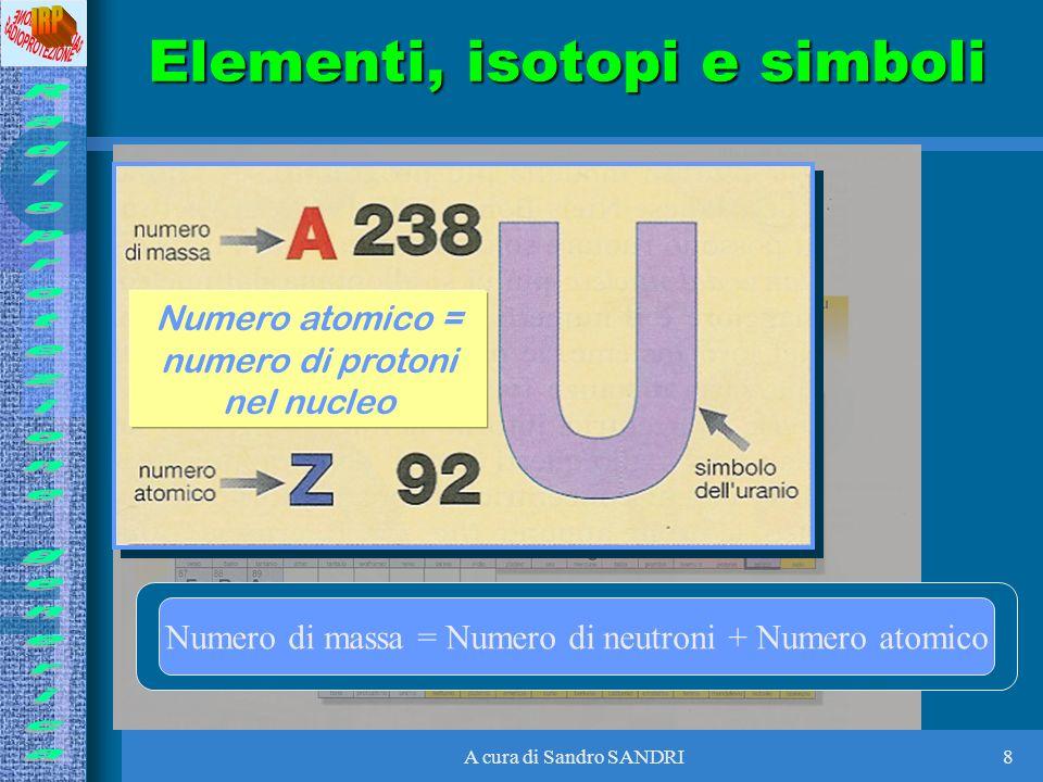 A cura di Sandro SANDRI8 Numero atomico = numero di protoni nel nucleo Numero di massa = Numero di neutroni + Numero atomico Elementi, isotopi e simbo