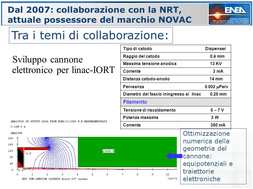 Ottimizzazione numerica della geometria del cannone: equipotenziali e traiettorie elettroniche Dal 2007: collaborazione con la NRT, attuale possessore