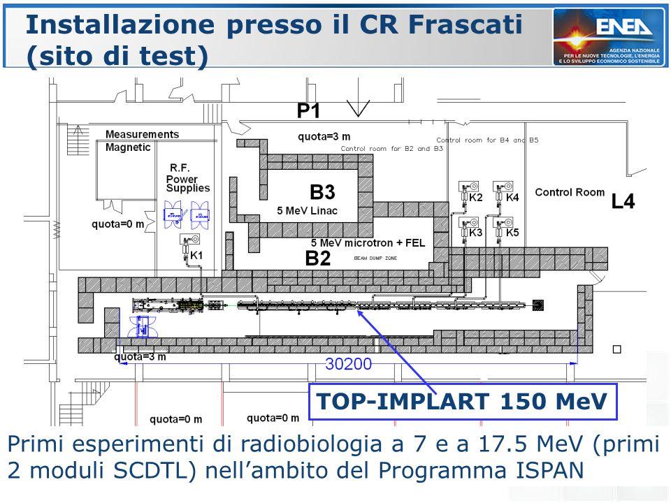 Installazione presso il CR Frascati (sito di test) TOP-IMPLART 150 MeV Primi esperimenti di radiobiologia a 7 e a 17.5 MeV (primi 2 moduli SCDTL) nell