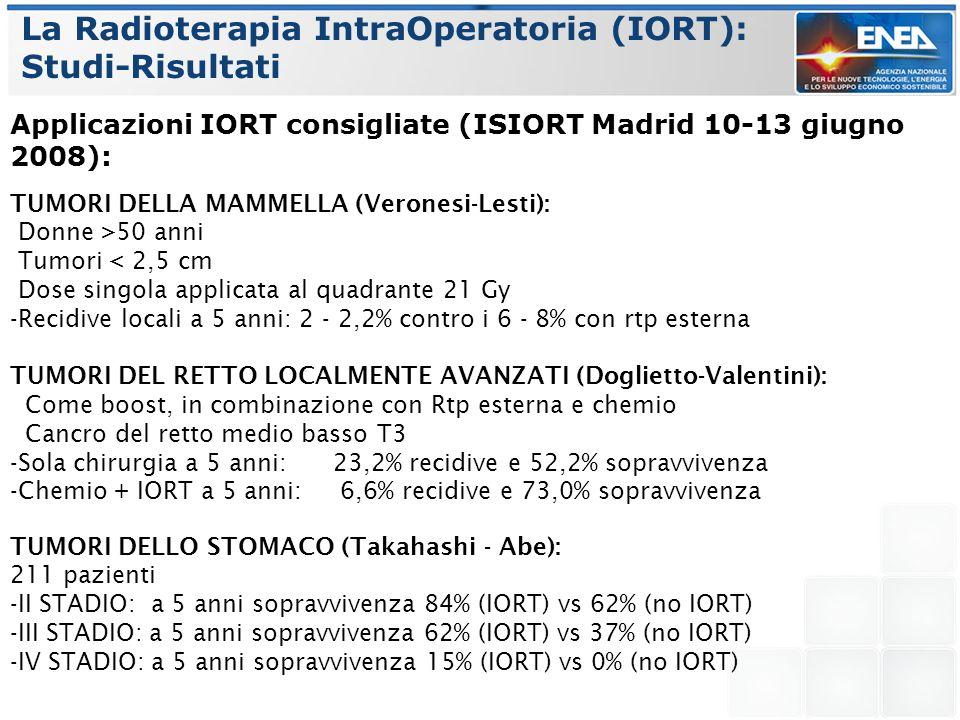La Radioterapia IntraOperatoria (IORT): Studi-Risultati Applicazioni IORT consigliate (ISIORT Madrid 10-13 giugno 2008): TUMORI DELLA MAMMELLA (Verone