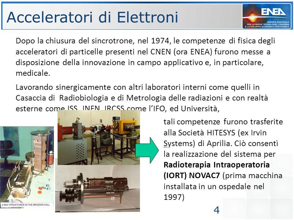 Acceleratori per Radioterapia IntraOperatoria (IORT) Piu di 40 macchine, tra NOVAC7 e LIAC, sono operative in strutture ospedaliere.