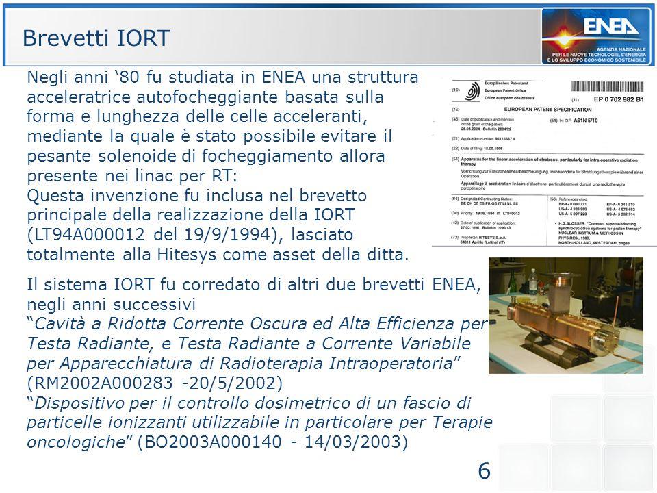 6 Brevetti IORT Negli anni 80 fu studiata in ENEA una struttura acceleratrice autofocheggiante basata sulla forma e lunghezza delle celle acceleranti,