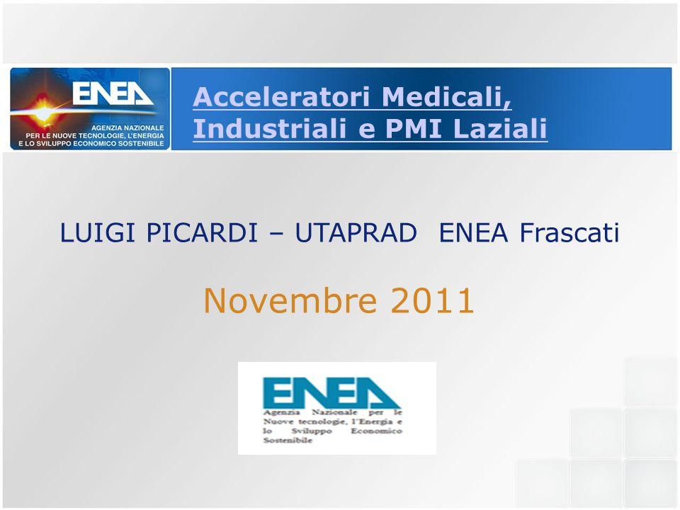 Acceleratori Medicali, Industriali e PMI Laziali LUIGI PICARDI – UTAPRAD ENEA Frascati Novembre 2011