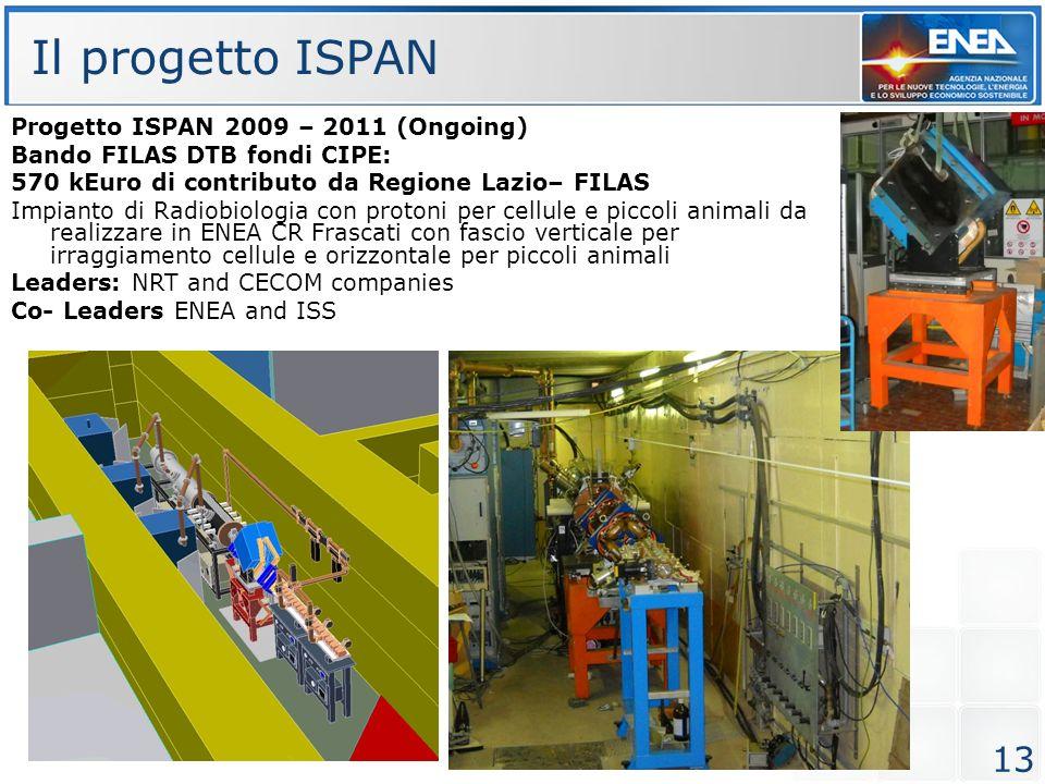 13 Progetto ISPAN 2009 – 2011 (Ongoing) Bando FILAS DTB fondi CIPE: 570 kEuro di contributo da Regione Lazio– FILAS Impianto di Radiobiologia con prot