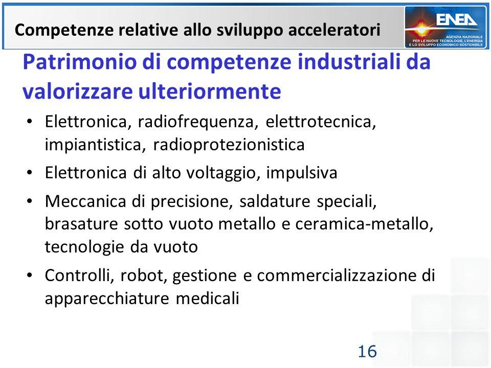 Patrimonio di competenze industriali da valorizzare ulteriormente Elettronica, radiofrequenza, elettrotecnica, impiantistica, radioprotezionistica Ele