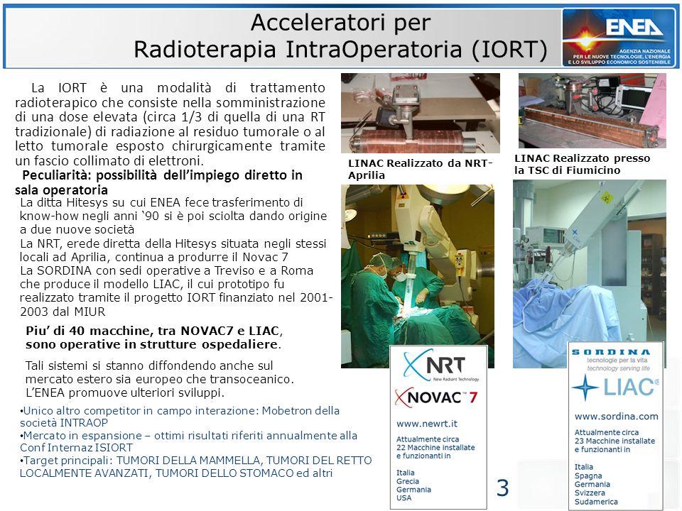Acceleratori per Radioterapia IntraOperatoria (IORT) Piu di 40 macchine, tra NOVAC7 e LIAC, sono operative in strutture ospedaliere. Tali sistemi si s