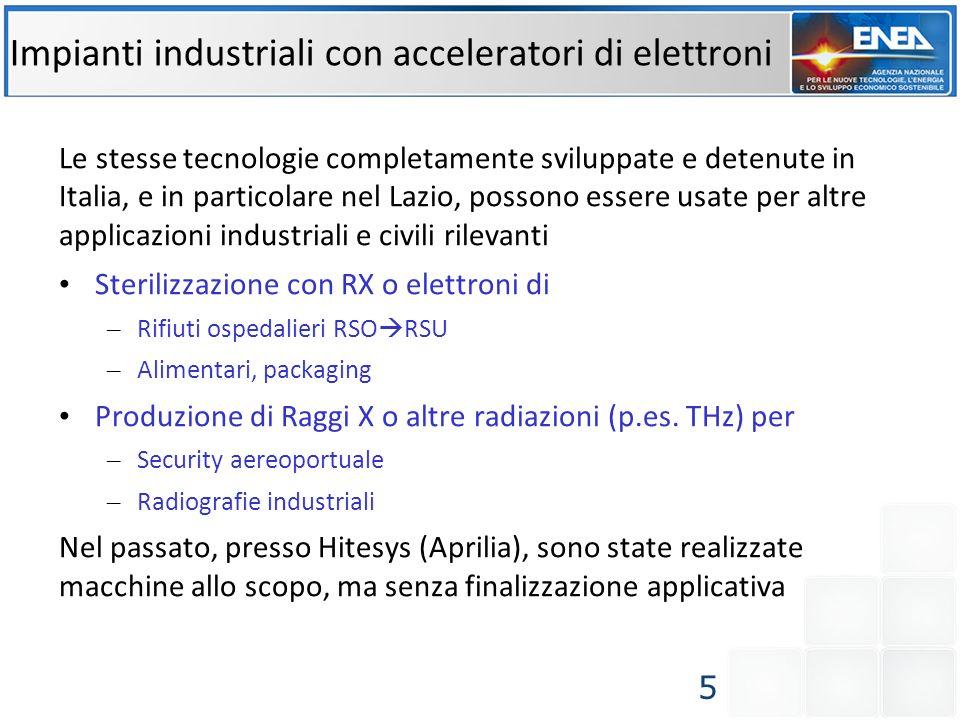 Impianti industriali con acceleratori di elettroni Le stesse tecnologie completamente sviluppate e detenute in Italia, e in particolare nel Lazio, pos