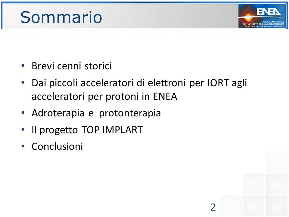 Sommario Brevi cenni storici Dai piccoli acceleratori di elettroni per IORT agli acceleratori per protoni in ENEA Adroterapia e protonterapia Il proge