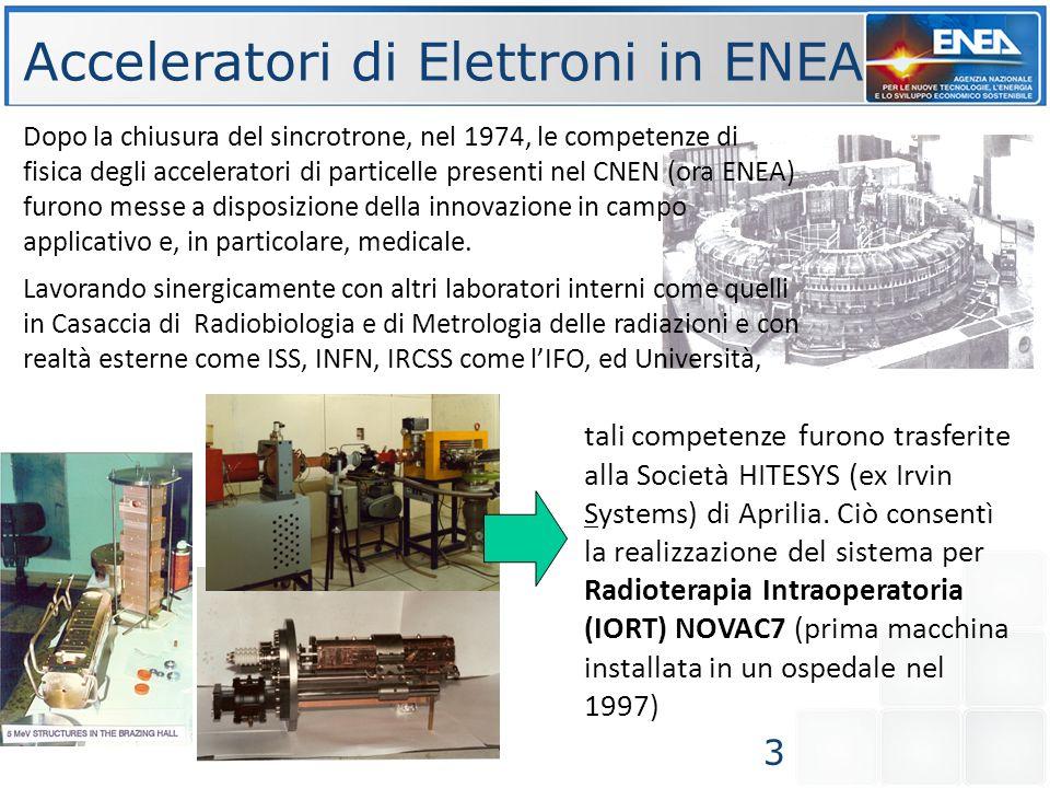 Dopo la chiusura del sincrotrone, nel 1974, le competenze di fisica degli acceleratori di particelle presenti nel CNEN (ora ENEA) furono messe a dispo